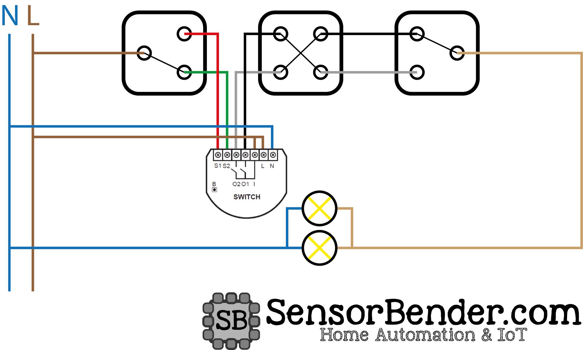 Wechselschaltung mehrerer Lampen ohne COM-Link mit Fibaro Switch